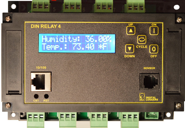 Control 8 relays in a compact DIN package from your web browser